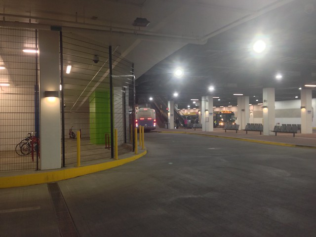 Bus bays under an apartment building in Reston