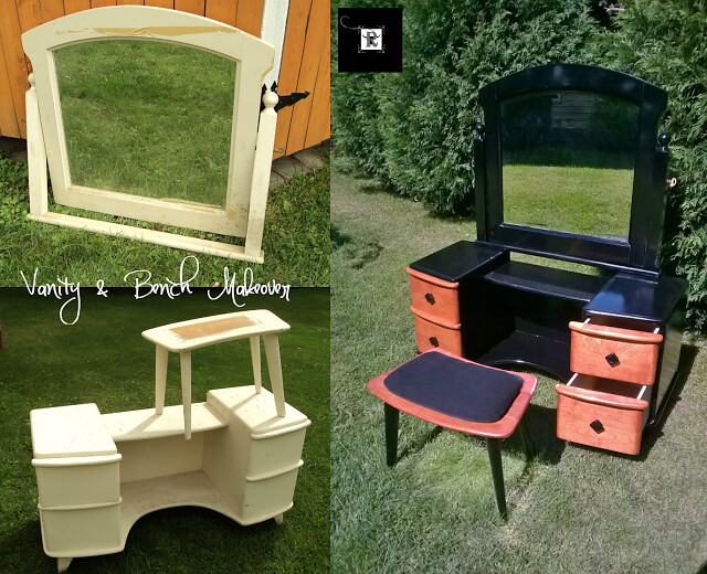 dressing table bench and mirror before after 2