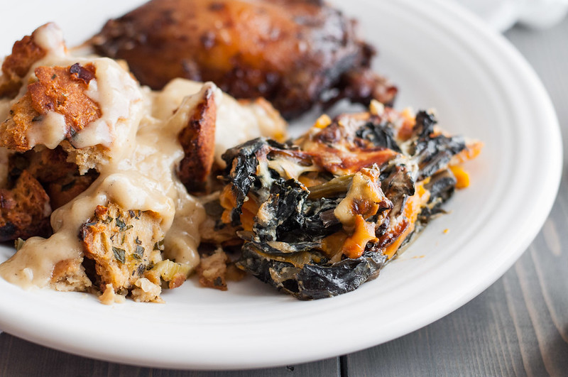 An impressive, make ahead-friendly winter dinner party menu featuring swiss chard and sweet potato gratin.