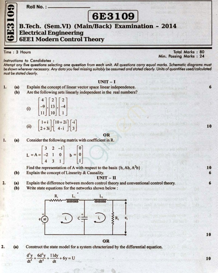 RTU: Question Papers 2014 - 6 Semester - EE - 6E3109