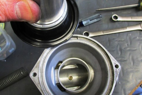 Locating Tab on Diaphragm and Slot in Top of Carburetor