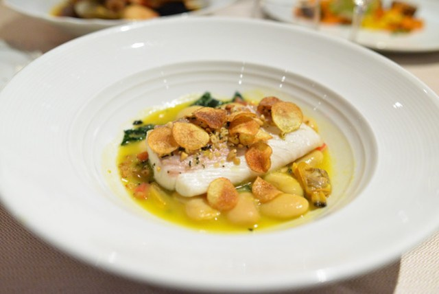 DENTICE steamed pacific snapper, gigante beans, pine nuts, clams, saffron brodo