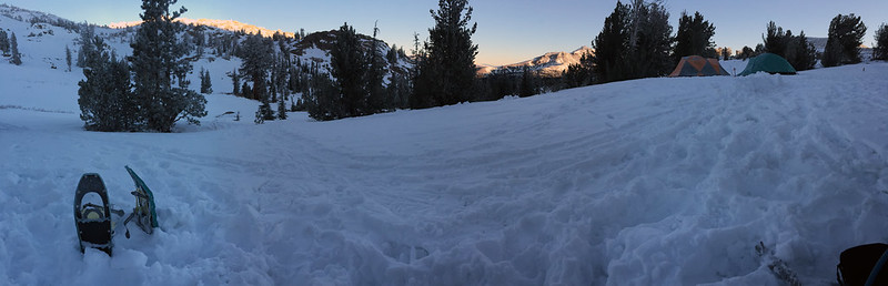 Snowshoes and sunrise
