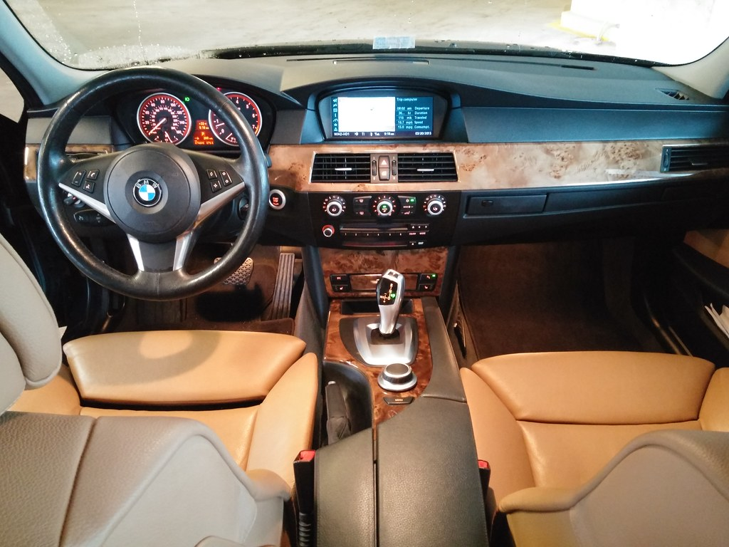 2008 BMW 535i sport package front cabin in natural brown leather
