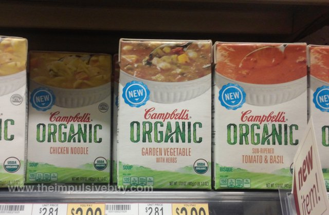 Campbell's Organic Soup (Chicken Noodle, Garden Vegetable, and Tomato & Basil)
