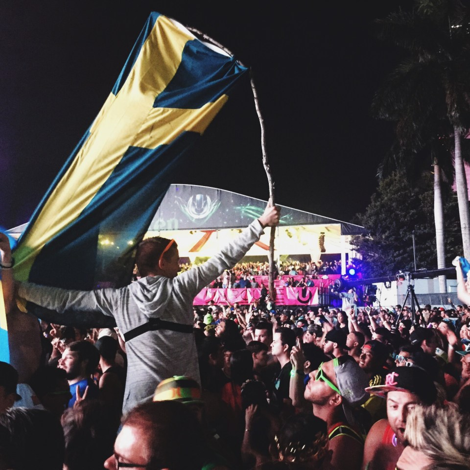Swedish flag at Ultra Music Festival 2015 Miami Main Stage