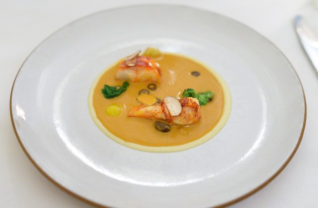 LOBSTER NEWBURG with baby mushrooms and lettuce