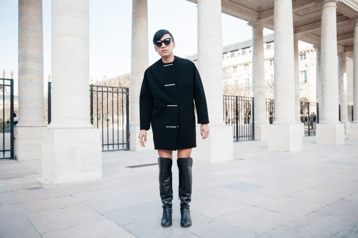 Balenciaga cocoon coat worn by Fashion Blogger Bryanboy