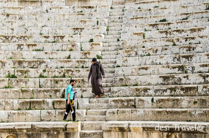 Roman Theater Amman men in Arab dress