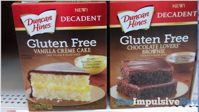 Duncan Hines Decadent Gluten Free Vanilla Creme Cake and Chocolate Lovers' Brownie