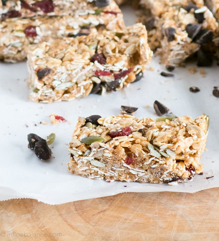 chocolate and cranberry granola bars on parchment paper