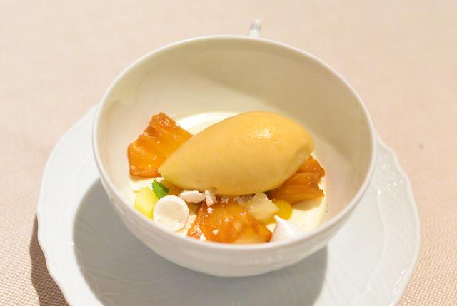 PANNA COTTA fior di latte panna cotta, green apple, roasted pineapple sorbetto