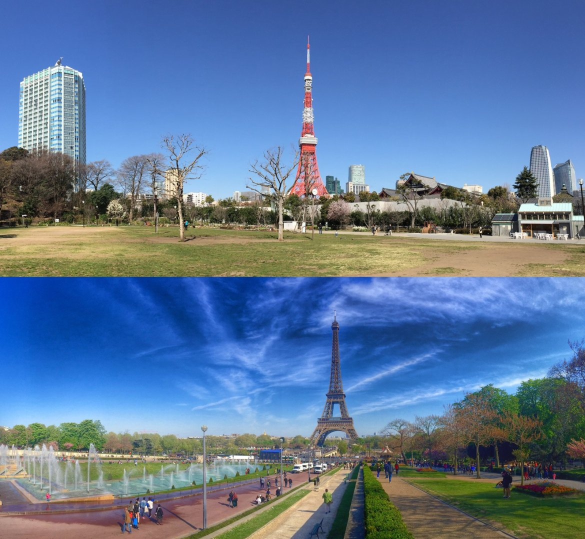 Panorama Tokyo Tower and Eiffel Tower