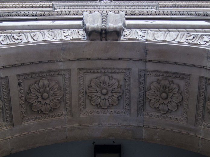 Top of the Lacy Building arch