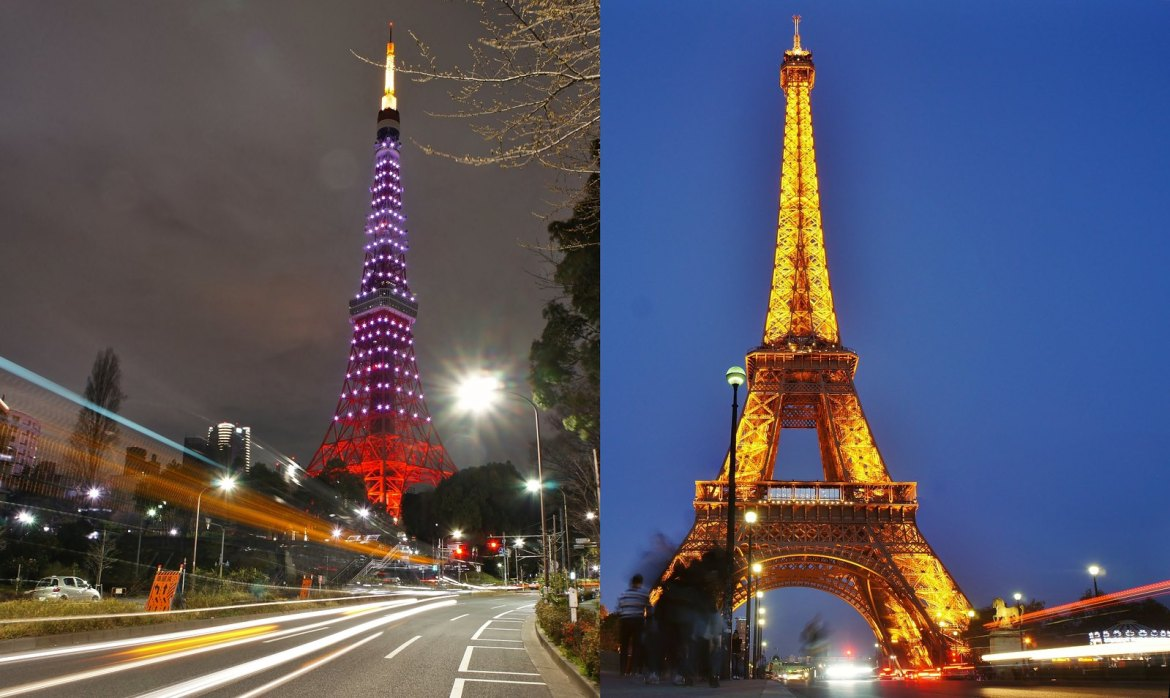 Traffic trails Tokyo Tower and Eiffel Tower