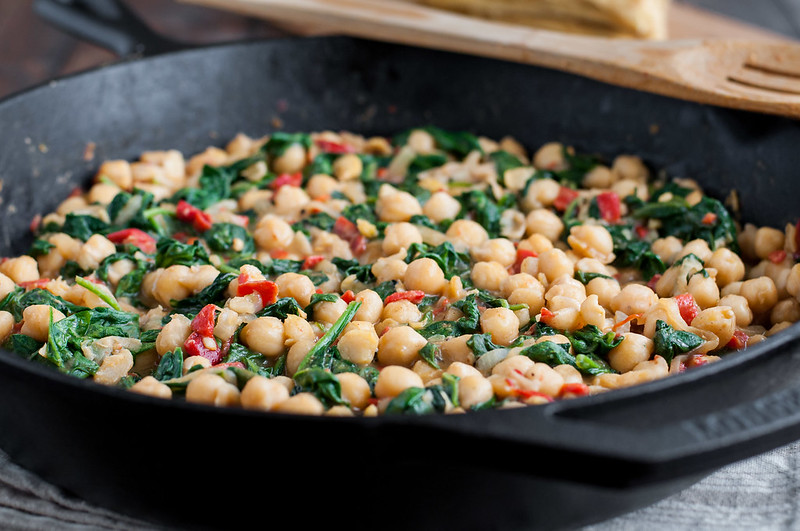 Skillet chickpea and roasted pepper dip - the perfect gluten-free, vegan tapas recipe