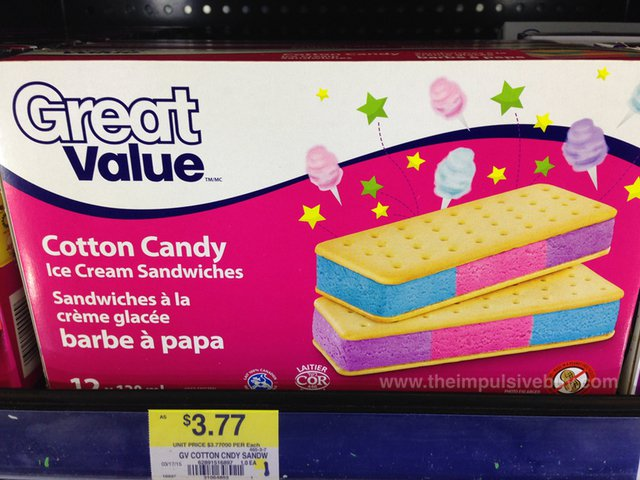Great Value Cotton Candy Ice Cream Sandwiches