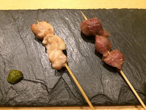 砂肝とせせりの串焼き@瀧口