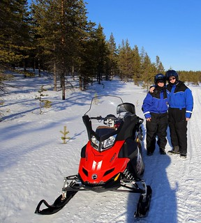 The happy snowmobilers
