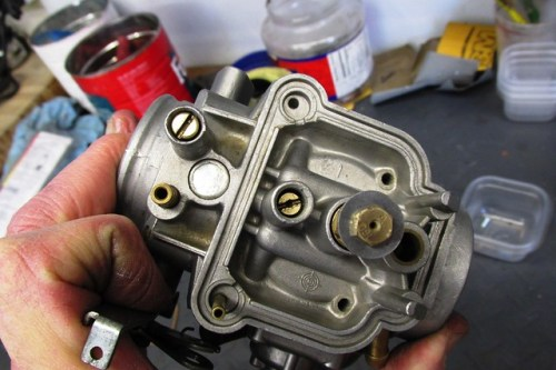 Carburetor Body with Jets and Mixing Tube Installed