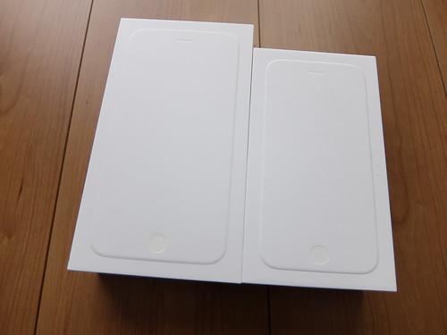 iPhone 6とiPhone 6Plusの箱の大きさ比較