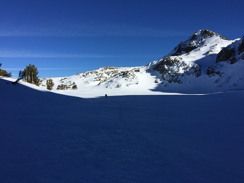 Walking across a snowed-over lake