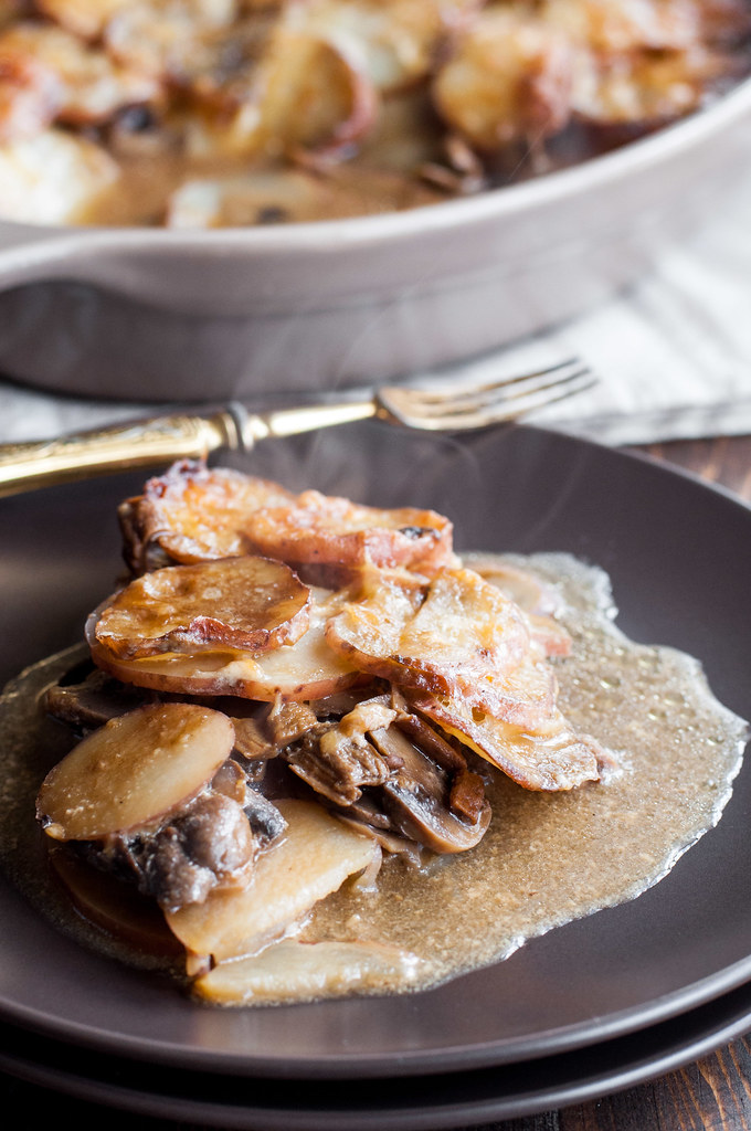 Rich, hearty mushroom potato gratin