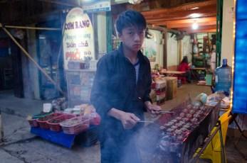 Hmong Boy prepares Bun Cha
