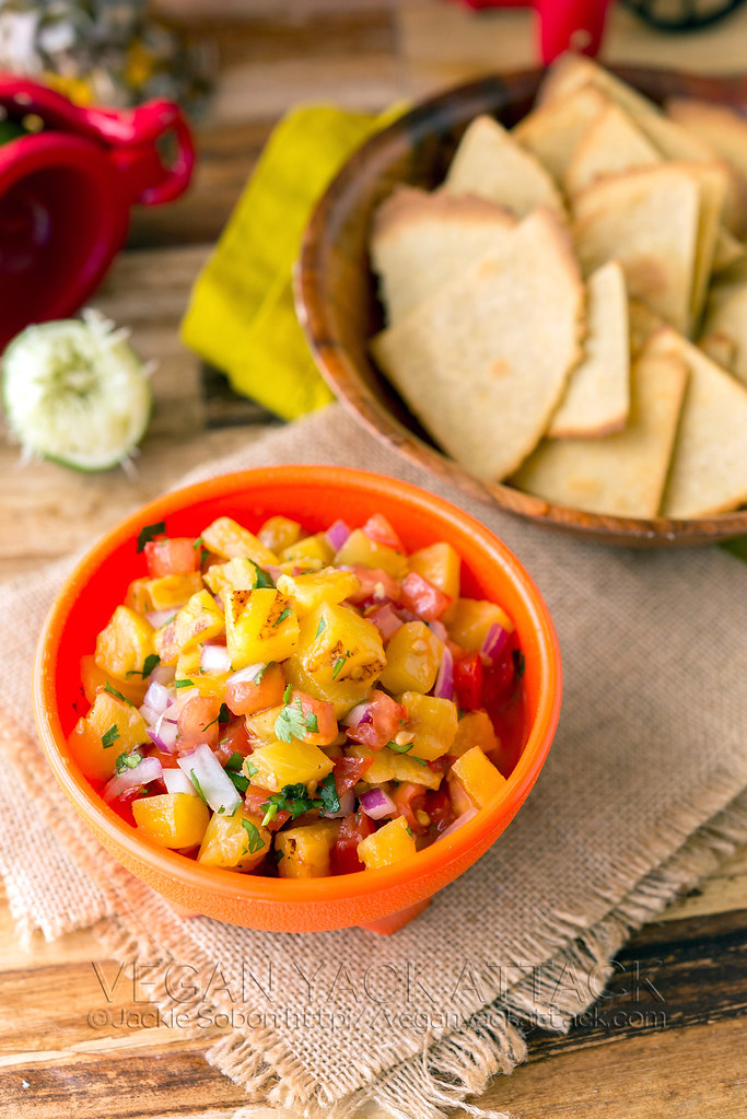 Grilled Pineapple Salsa with Quinoa-Corn Tortilla Chips