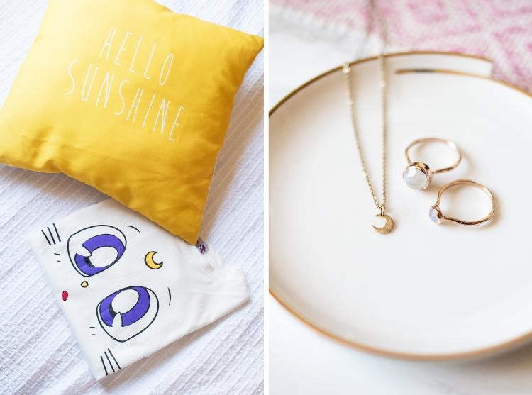 cushion and jewellery
