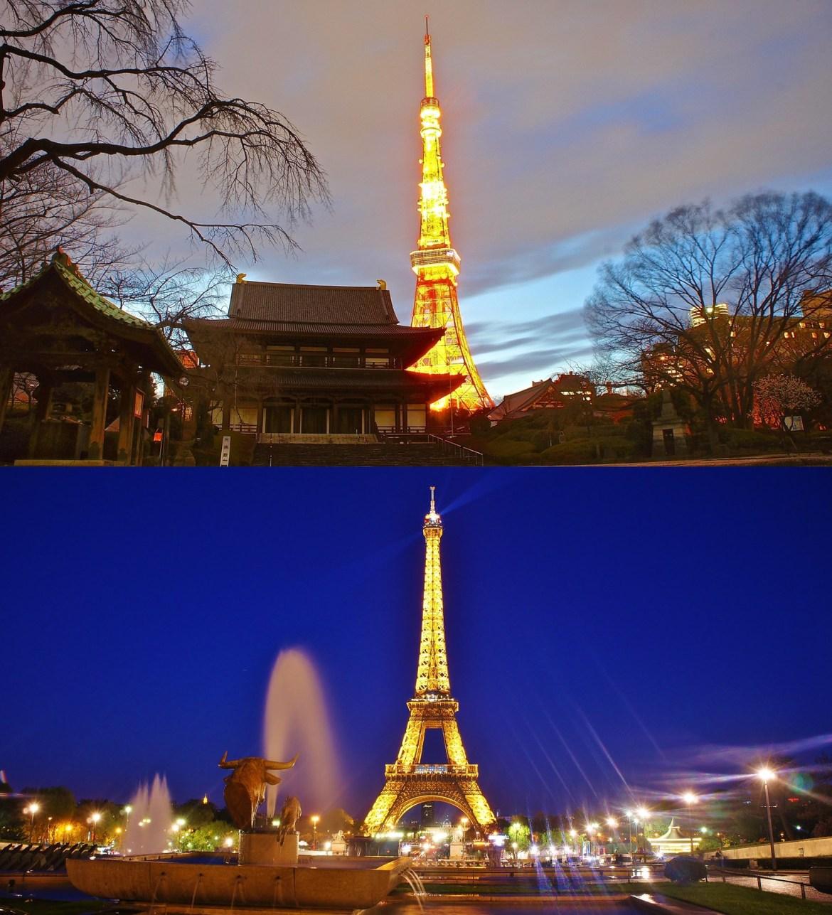 Oriental Tokyo Tower, Western beauty Eiffel Tower