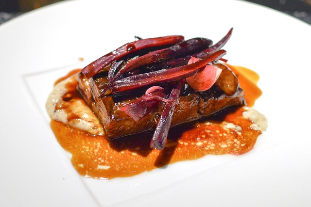 48 HOUR BEEF BELLY CONFIT ROOT VEGETABLE, PICKLED SWEET ONION, BUCKWHEAT POLENTA