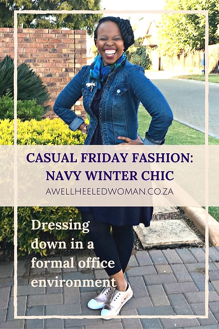 Friday Casual Work Style: Navy Winter Chic. A Working Woman's dilemma. Dressing down but still looking professional &well putting together for casual friday's.