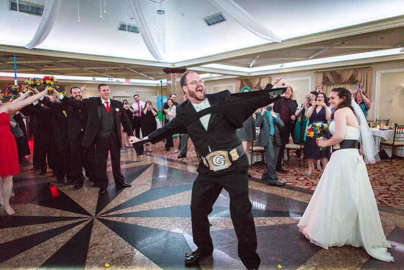 Rainbow meets wrestling wedding from @offbeatbride
