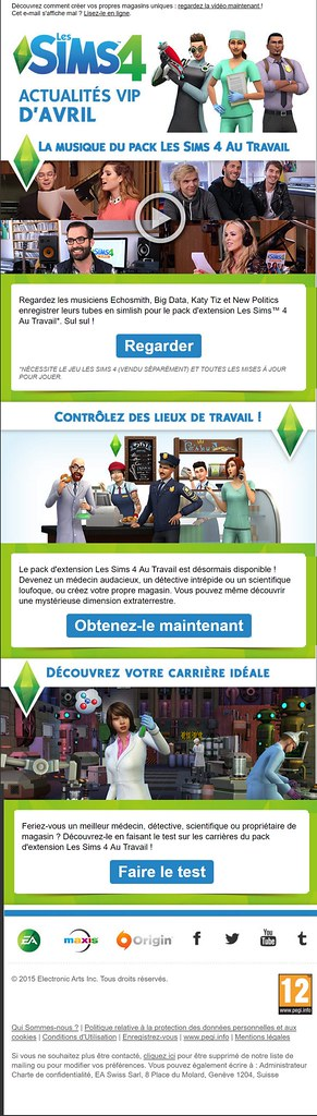 Newsletter Les Sims 4 – Avril 2015