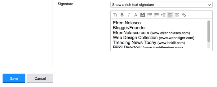 How email signature on Yahoo Mail step 3