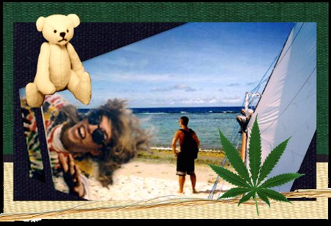"""Hemp o Rama"" Guam etc, 1996 / mixed media collage (with David White)"