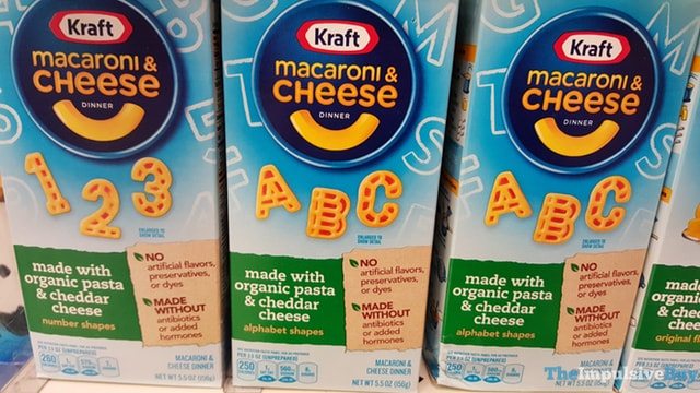 Kraft Macaroni & Cheese Dinner made with Organic Pasta & Cheddar Cheese (Numbers Shapes and Alphabet Shapes)