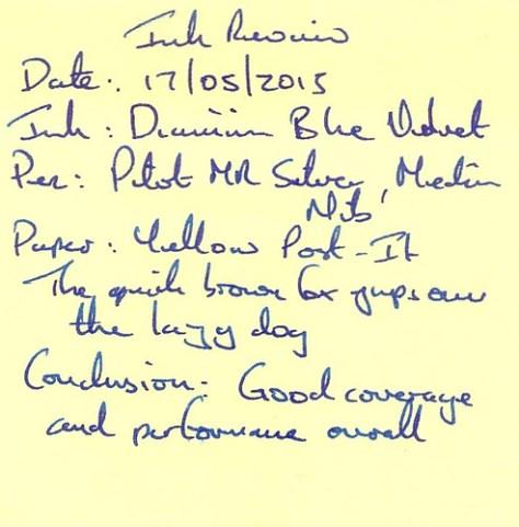 Diamine 150th Anniversary Blue Velvet - Post-It
