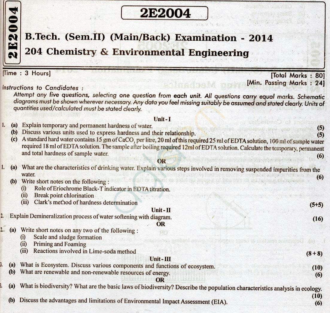 Rtu Question Papers 2 Semester All Branches Chemistry And Environmental Engineering