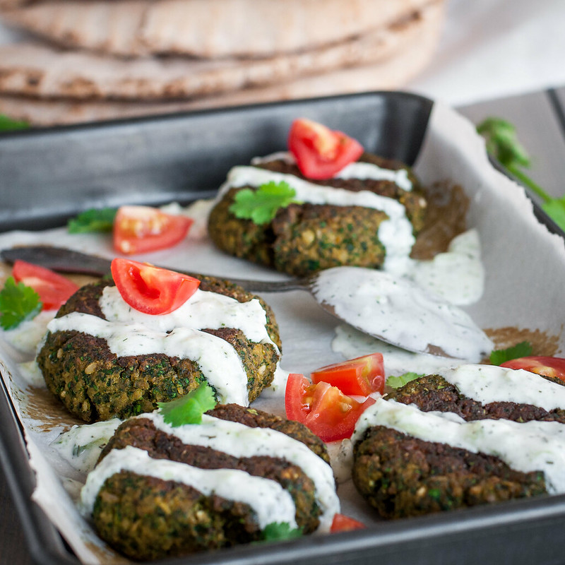 Baked green gluten-free falafel--no overnight soaking required.