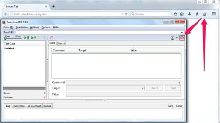 Starting the Selenium IDE for recording test cases
