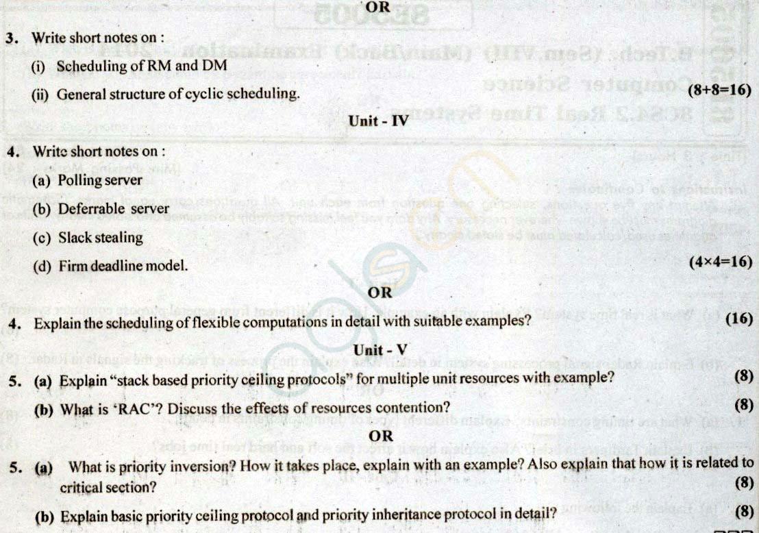 RTU: Question Papers 2014 - 8 Semester - CS - 8E5005