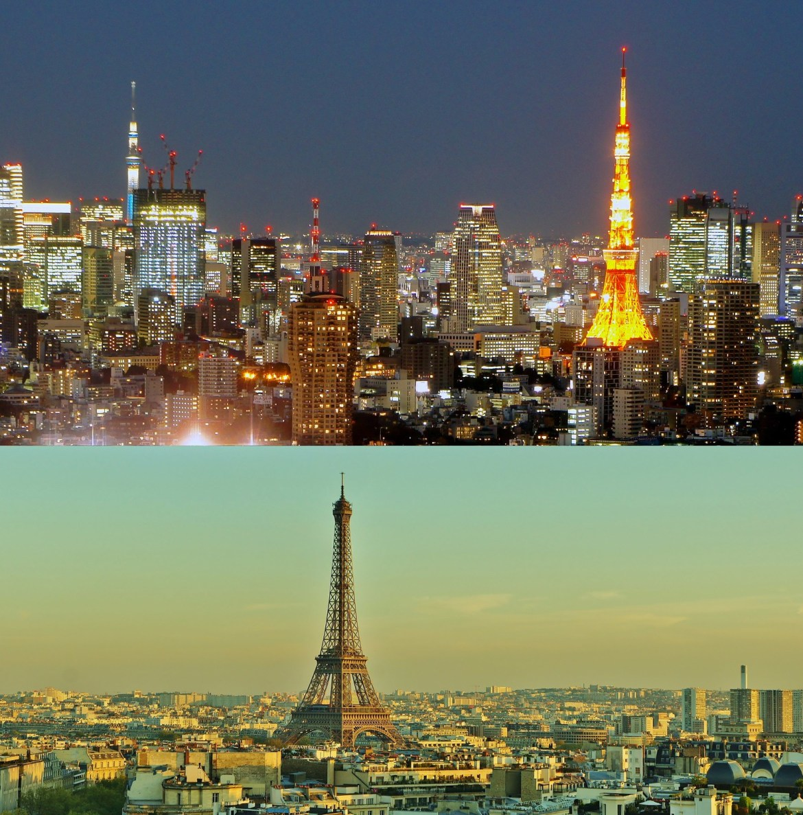 Cityscape panorama Tokyo Tower and Eiffel Tower