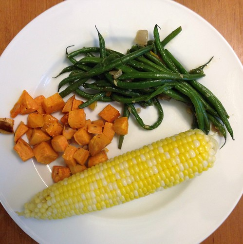 sweet potatoes, green beans, corn on the cob