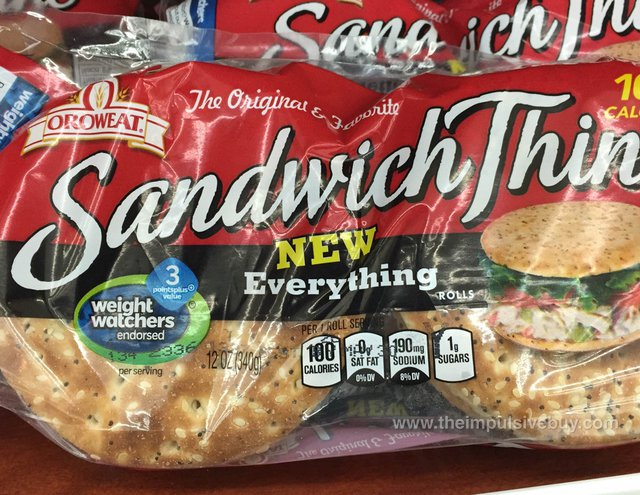 Oroweat Everything Sandwich Thins