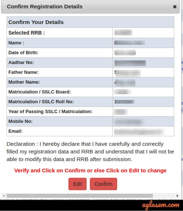 RRB Ministerial Registration details confirmation 2019
