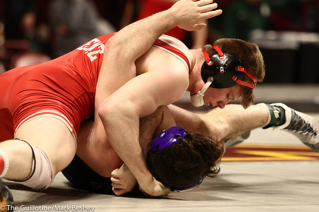 Champ. Round 1 - Tyler Venz (Nebraska) 20-5 won by fall over Brendan Devine (Northwestern) 0-21 (Fall 1:52) - 1903amk0188