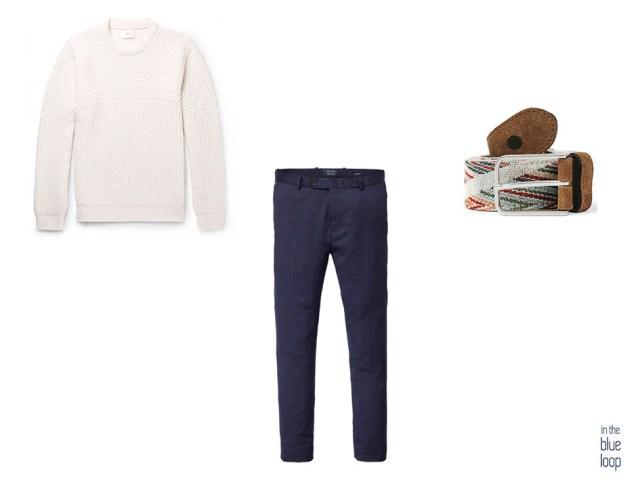 Jersey beige de punto con chinos azules y cinturón arure de blue hole en look smart-casual