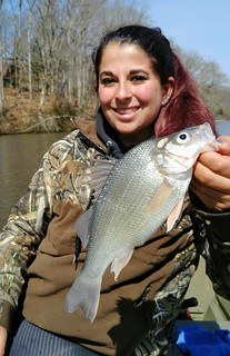 Woman with white perch
